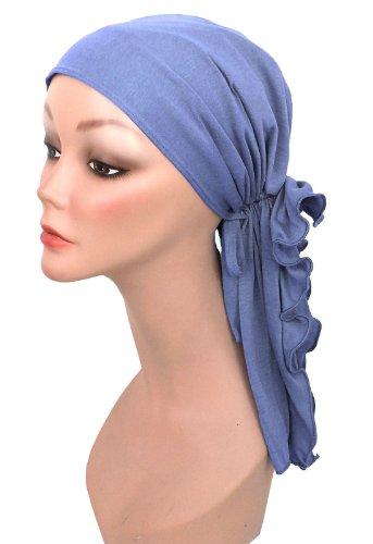 Bohemian Scarf in Periwinkle Blue Cotton Knit