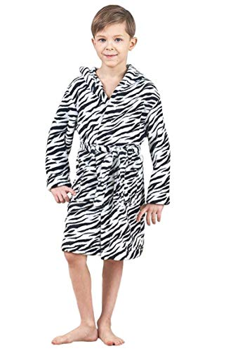 JuneBloom Boys Printed White Tiger Stripes Fleece Hooded Bathrobe for Kids 7-8 Years Old