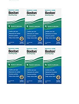 Bausch and Lomb Boston Rewetting Drops for Hard Rigid Gas Permeable Contact Lenses, Travel Size 0.33 oz (10ml) - Pack of 6