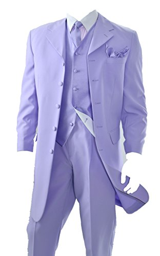 Mens Three Pieces Zoot Suit (Lavender) (46L)
