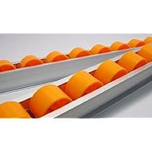 "Aluminum Alloy Skate Conveyor Roller Section w/ 1-1/2"" X 1"" Plastic Wheels, 1 M Length"