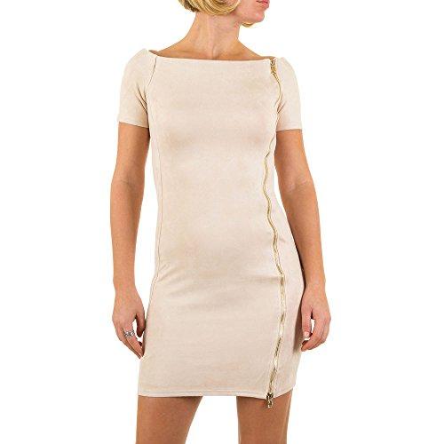 Veloursoptik Mini Kleid Für Damen bei Ital-Design Creme