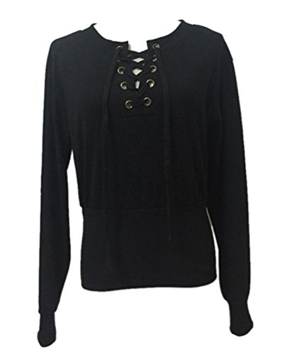 YiLianDa Mujer Camiseta Mangas Largas Blusa Cuello En V Elegante Deportiva Casual Negro