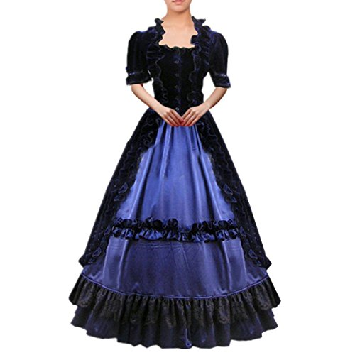 Partiss Women Lace Ruffles Gothic Victorian Fancy Dress Costumes Small,Black - Ball Gown Costumes Cheap