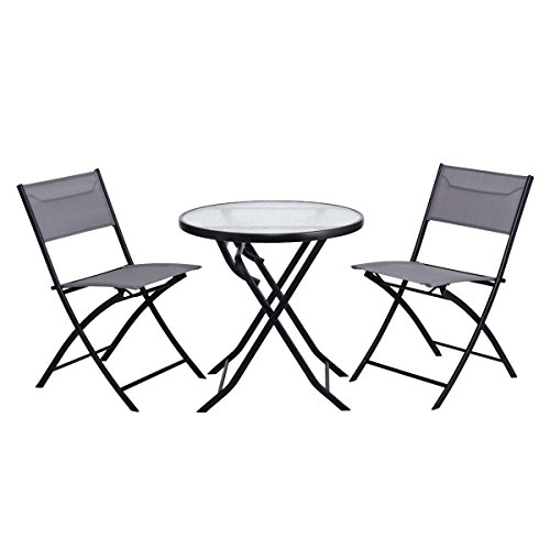 Giantex 3 Piece Table Chair Set Metal Tempered Glass Folding Outdoor Patio Garden Pool (Blue) (Folding Patio Furniture Dining Set)