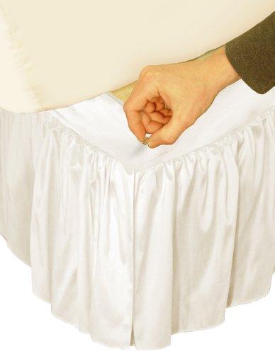 Veratex Adjustable Bed Skirt Ruffled Faux Silk C King, Iv...