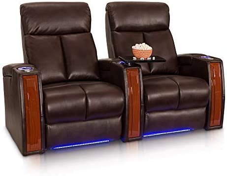 Seatcraft Seville Row of 2 Brown Leather Gel Power Recline Home Theater Seating Chairs Powered by SoundShaker