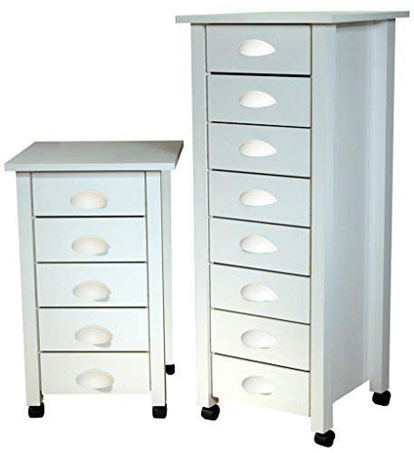Amazon.com: Venture Horizon 8 cajón Mobile Cart Color Blanco ...