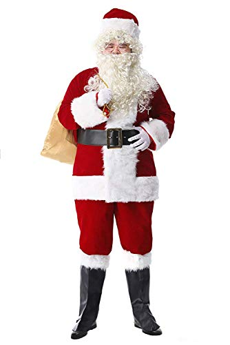 Epsion 10 Pcs Men Santa Suit Accessories Plus Size, Deluxe Adults Christmas Santa Claus Costume