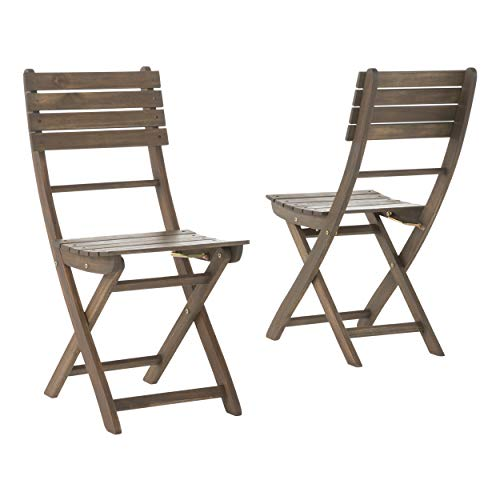 GDF Studio Vicaro Acacia Wood Foldable Outdoor Dining Chairs Set of 2 Perfect for Patio with Grey Finish