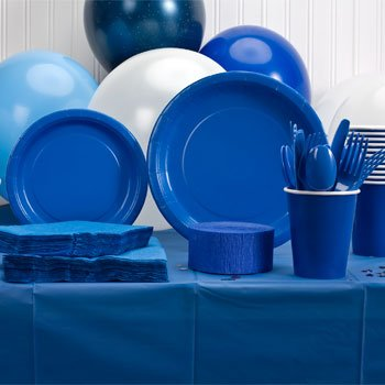 (Royal Blue Plastic Party Eatery Set (Napkins, Cups, Plates, Spoons, Forks, Knives, Tablecloth))