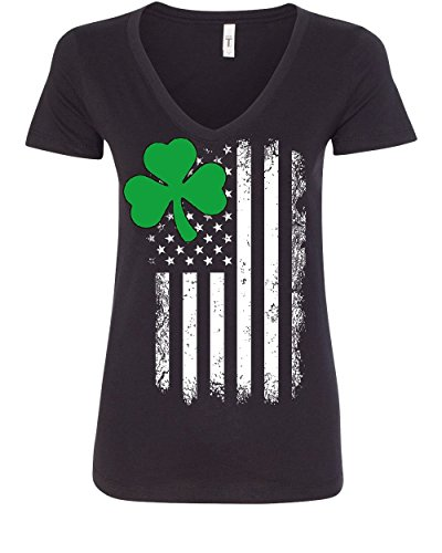 Tee Hunt Shamrock Flag Stars and Stripes Women's V-Neck T-Shirt Irish ST. Patrick's Day Black (Star Flag Shirt)