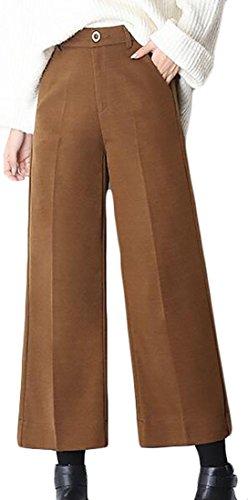 Cruiize Women's Winter Wide Leg Wool-Blend Straight-Fit Palazzo Pants Light Tan ()