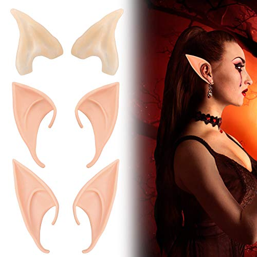 (Elf Ears Christmas Latex Props - Sovinia Anime Fairy Elf Earrings Accessories Vampire Cosplay Party Decoration Masquerade Gift Light Color (3)