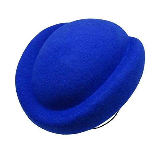 HATsanity Women's Textura de lana Comba Sombrerería Pillbox Azul