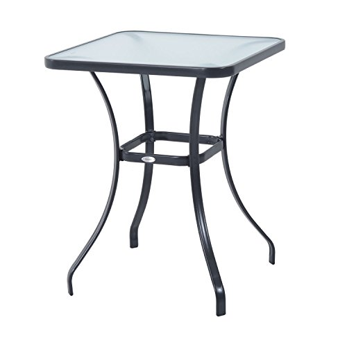 outsunny 34 outdoor glass top bistro table black
