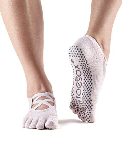 ToeSox Grip Full Toe Elle Socks, Dance Socks and can be use for Barre, Yoga, Pilates, Fitness Non Slip Skid Socks - 1 PAIR Ballet Pink