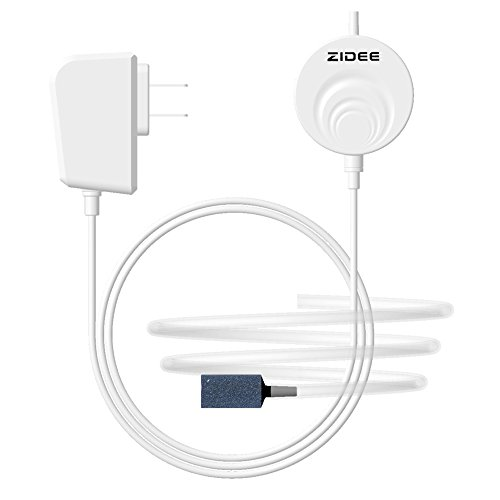 ZIDEE High Efficiency Energy Saving Quiet Aquarium Air Pump,Ultra Silent Oxygen Air Pump Aquarium Kit for Fish Tank(Up to 15gallon), with Air Stone and Silicone Tube(white) by ZIDEE