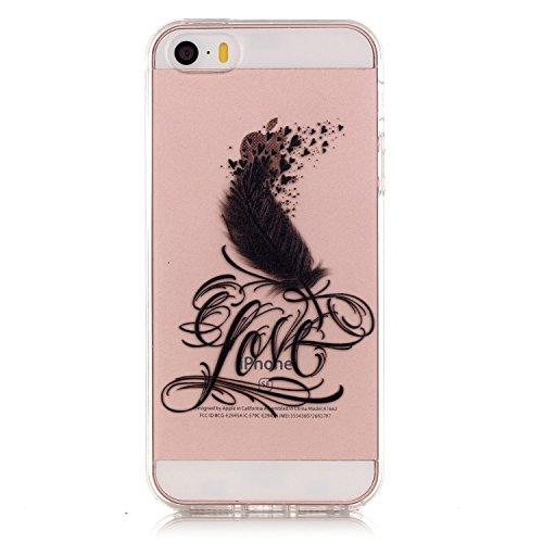 Voguecase® Pour Apple iPhone 5 5G 5S, TPU avec Absorption de Choc, Etui Silicone Souple Transparente, Légère / Ajustement Parfait Coque Shell Housse Cover pour Apple iPhone 5 5G 5S (Love plume 01)+ Gr