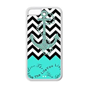 MMZ DIY PHONE CASEipod touch 4 Case - Turquoise Infinity Chevron with Anchor Live the Life You Love, Love the Life You Live Apple ipod touch 4 (Cheap IPhone5) Waterproof TPU Back Cases Covers