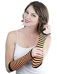 ToBeInStyle Women's Striped 100% Nylon Arm Length Warmers - Black with Orange Stripes