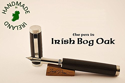 Stainless Steel and Irish bog oak wooden fountain pen with Peter Bock nib as standard with a FREE Desk stand writing connoisseur gift FREE personal note in the pen case lid by Irish Pens