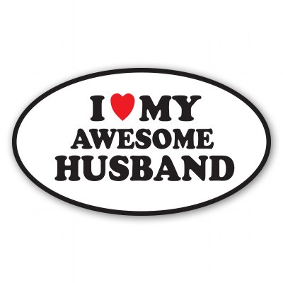 i love my husband bumper sticker - 1