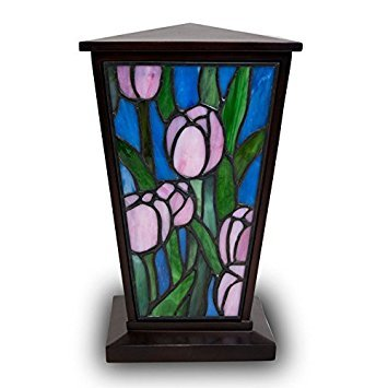 (Tulip Stained Glass Memorial Urn for Adults - Large - Holds Up to 200 Cubic Inches of Ashes - Pink Cremation Urn for Ashes - Engraving Sold Separately)