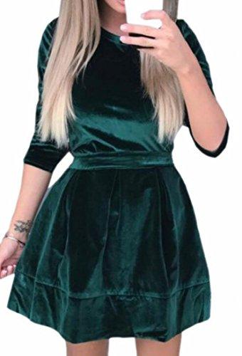 Jaycargogo Velours Womens Manches Longues Balancer Une Ligne Robe De Soirée Avec Le Vert De La Ceinture
