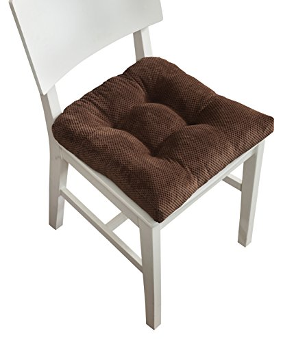 Arlee Memory Foam, Non-Skid Seat Cushion, Set of Two (2) Chair Pad, Chocolate Brown, 2 Piece