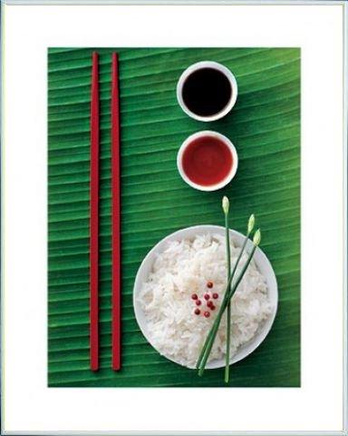 Kochkunst Poster Kunstdruck und Kunststoff-Rahmen - Reis-Schüssel, Louis Gaillard (50 x 40cm)