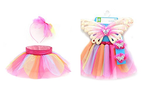 WMH Little Girls Fairy Princess Pink Rainbow Tutu and Basket Combo Pack Butterfly Wings 2 Matching Hair/Wrist Accessory