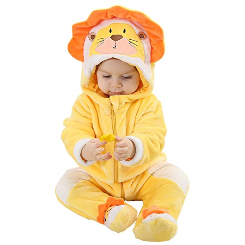 MerryJuly Toddler Unisex-Baby Halloween Costume Animal Onesie Outfit Lion 70cm/(3-6 Months ()