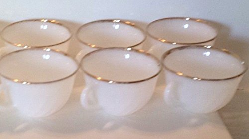 Vintage Fire King Tea Coffee Cups White Milk Glass Gold Trim Oven Fire King Ware - (Set of 6)