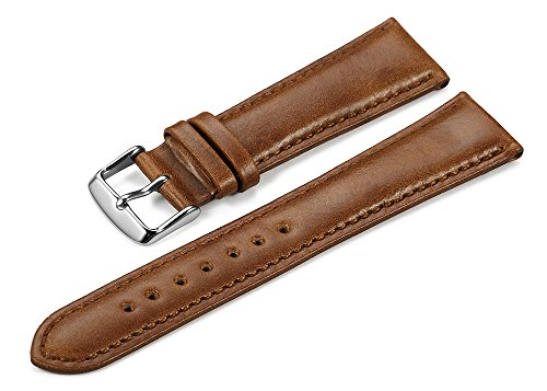 Brown Calfskin Mens Strap - iStrap 22mm Genuine Leather Watch Strap Padded Calfskin Band Steel Spring Bar Buckle Super Soft - Brown