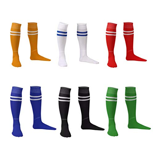 Men Football Socks Over Knee Ankle Legging Stockings Socks 6 Packs (Yellow&Red&Blue&Black&Green&White Blue)
