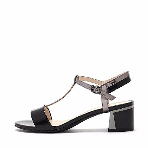 No. 55 Shoes Estate Bassa Confortevole con Testa Tonda con Fibbia Toe Lady Sandali,US8/EU39/UK6/CN39,Nero