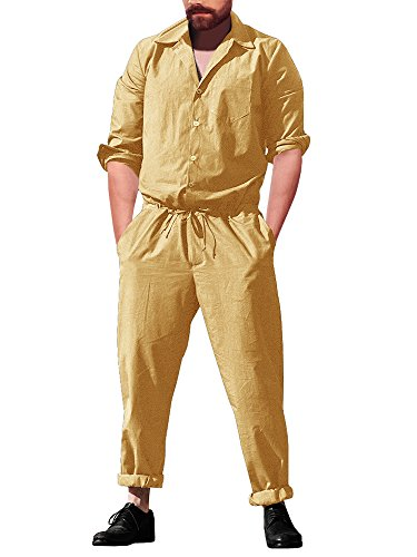 Runcati Mens Jumpsuit Romper Pants Yellow Long Sleeve Drawstring Casual Plain One Piece Coverall with Pockets