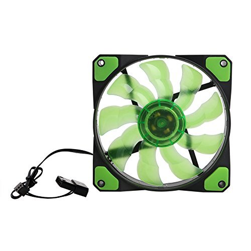 SCASTOE With 15 LED Light 3-Pin/4-Pin 120mm PWM PC Computer Case CPU Cooler Cooling Fan Green (80mm Low Profile Fan compare prices)