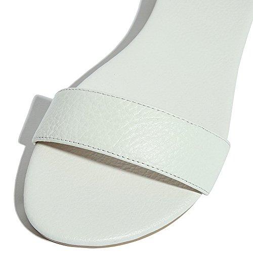 Sandals Buckle White PU Womens AalarDom Open Toe Solid Heels Low aFxU8Twq