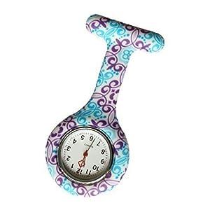 Reloj Médico Reloj Prendedor de Broche de Túnica de Paramédico Doctor Enfermera Silicón de Flores Geométricas Azul & Morado 41 mLN6 i5L