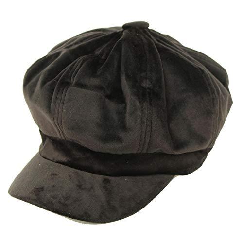 Soft Warm Fall Winter Newsboy Gatsby Paperboy Full Rounded Cabbie Cap Hat Velvet Black