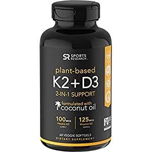 Vitamin K2 + D3 with Organic Coconut Oil for better absorption | 2-in-1 Support for your Heart, Bones & Teeth | Vegan Certified, GMO & Gluten Free (60 Veggie Gels)