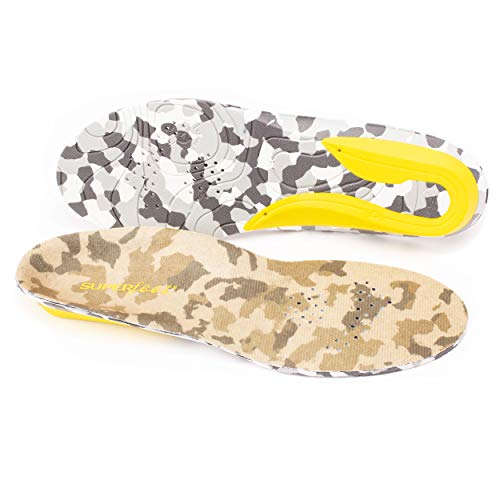 Superfeet TRAIL Warm Weather Cushioned Orthotic Support Camo Insoles for Hiking and Hunting Boots, Unisex, Coyote Camo, Medium/D: 8.5-10 Wmns/7.5-9 Mens