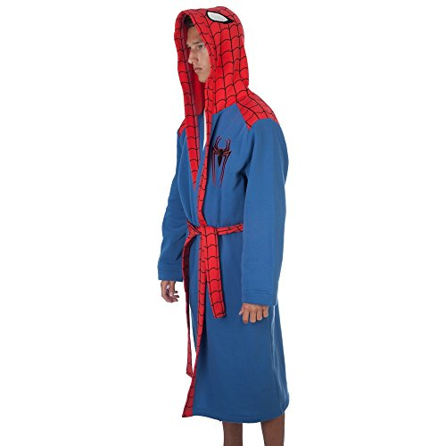 [Marvel Comics Spiderman Adult Plush Robe Embroidered Licensed Costume (Small)] (Spiderman Outfit Adult)