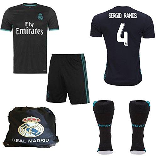Benzema Real Madrid (Real Madrid NB Ronaldo Bale Benzema Ramos 2017 2018 17 18 Kid Youth REPLICA Away Jersey Kit : Shirt, Short, Socks, Bag (Ramos Away, Size 26 (9-10 Yrs Old Approx.)))
