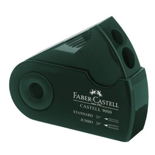 Faber-Castell 9000 Double-Hole Sharpener Box, Green (FC582800)