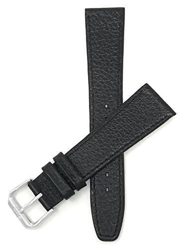 (Bandini 22mm Italian Leather Watch Band Strap - Black - Buffalo Pattern - Slim)