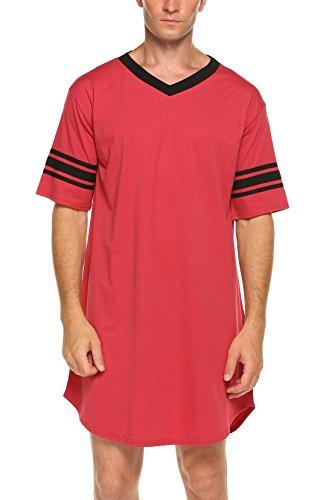 Ekouaer Men's Nightshirt Cotton Nightwear Comfy Big&Tall V Neck Short Sleeve Soft Loose Pajama Sleep Shirt, red, X-Large by Ekouaer