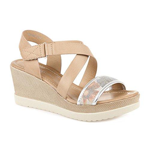 Bellissimo Touch Fasten Wedge Sandal 307 569 Tan